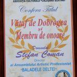 13. ASOCIATIE CULTURALA CALUSARII SLATINEI CALITATEA DE MEMBRU DE ONOARE SI TITLUL DE VATAF DE DOBROGEA