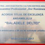 9. CENTRUL JUDETEAN PENTRU CULTURA BISTRITA NASAUD ANSAMBLUL ARTISTIC DOR ROMANESC TITLU DE EXCELENTA